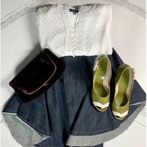 Tish Cox Frayed Denim Circle Skirt Large
